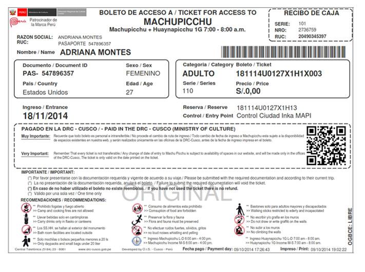 e-ticket machu picchu