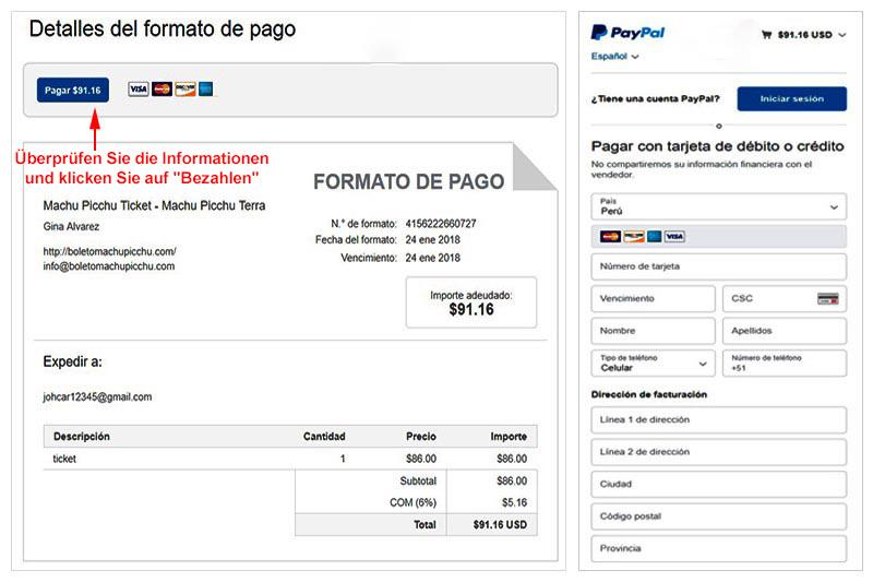 Paypal Rechnung Ticket Machu Picchu