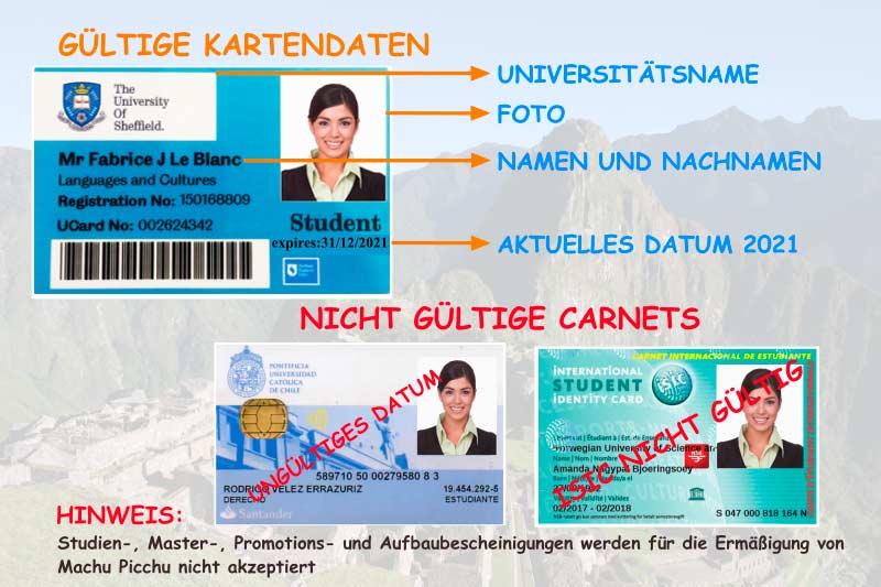 Universitätskarte Ticket Machu Picchu